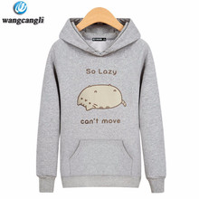 2017 Newest Women Men Long Sleeve Outerwear Lazy Cat Hoodie Sweatshirt Street Hipster Sweatshirts Crewneck Pullovers Plus