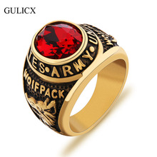 GULICX 2017 New Brand Wolfpack United States Army US Finger Ring Stainless Steel Band for Men Garnet Red CZ Zircon Jewelry BR087(China)
