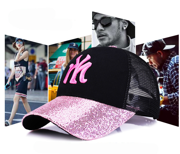 [Rancyword] 17 New Branded Baseball Caps Canada Women's Cap With Mesh Bone Hip Hop Lady Embroidery Hats Sequins RC1134 2