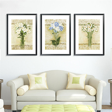 A Bunch Flowers Canvas Wall Poster Simple Pattern Beige Based Mural Paper Flesh Nordic Plants Art Drawing Bedroom Cafe Ornaments