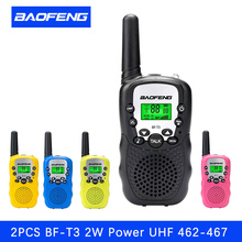2pcs baofeng walkie talkie mini radio bf-t3 2w uhf 462-467 mhz two way radio convenience children's radio Christmas gift(China)