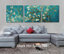 Print Painted Van Gogh Oil Painting Reproductions 3 Piece Abstract Canvas Art Almond Flower Picture Modern Wall Decor GA709(China)