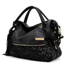 FGGS Black Women's Handbags Shoulder Bags Purse PU Leather Women Messenger Hobo Bag