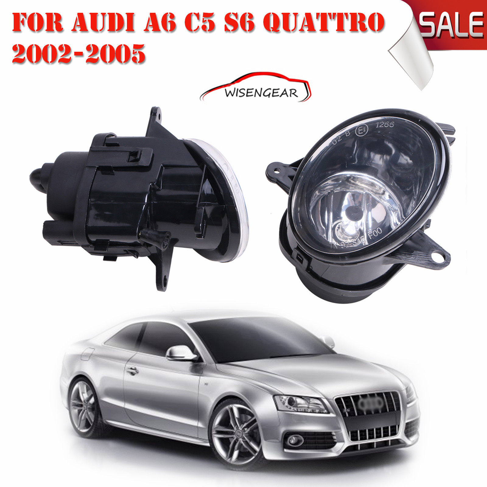 Car Light Clear Lens Front Right+Left Fog Light Lamp With H7 Bulbs For Audi A6 C5 S6 Quattro 2002-2005 C/5<br>