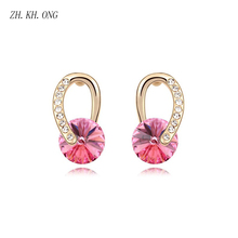 ZH.KH.ONG Elegant rabbit ear shape stud earrings women jewelry Simple gold color earring embed cyrstal ang rhinestone E259 - ZH KH ONG Store store