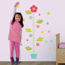Waterproof 70x50cm 3D Flowers Kid Height Chart Measure Removable Wall Decal PVC Sticker Home Living Bed Room Decor Accessories