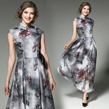 Real European Station Early Spring New Eugen Long Retro Elegant Female Stand Collar Beauty Lady Printed Flower Women Dress