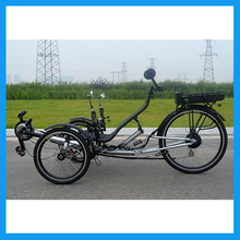 EU Standard Rear Suspension 21 Speeds Lithium Battery Pedal Assist Electric Recumbent Tricycle Adult(China (Mainland))