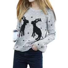 2017 Autumn and Winter Christmas Reindeer Deer Pattern Sweater Women Jacket Pullovers(China)