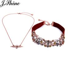 JShine Unique Collar Wide Red Korea Velvet Crystal Flowers Double Layers Choker Necklaces for Women Bird Pendant Fashion Jewelry