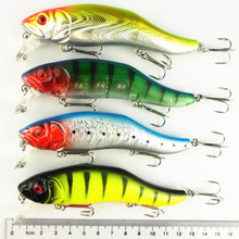 New 4PCS 12CM 24.5G long shot casting seawater fishing lures 4# fishhooks big Minnow saltwater bass culter fish artificial baits