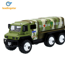 LeadingStar 2017 New 1:32 Alloy Military Truck Missile Transport Vehicle Model Pull Back Toy Car with Active Door Gift for Kids(China)