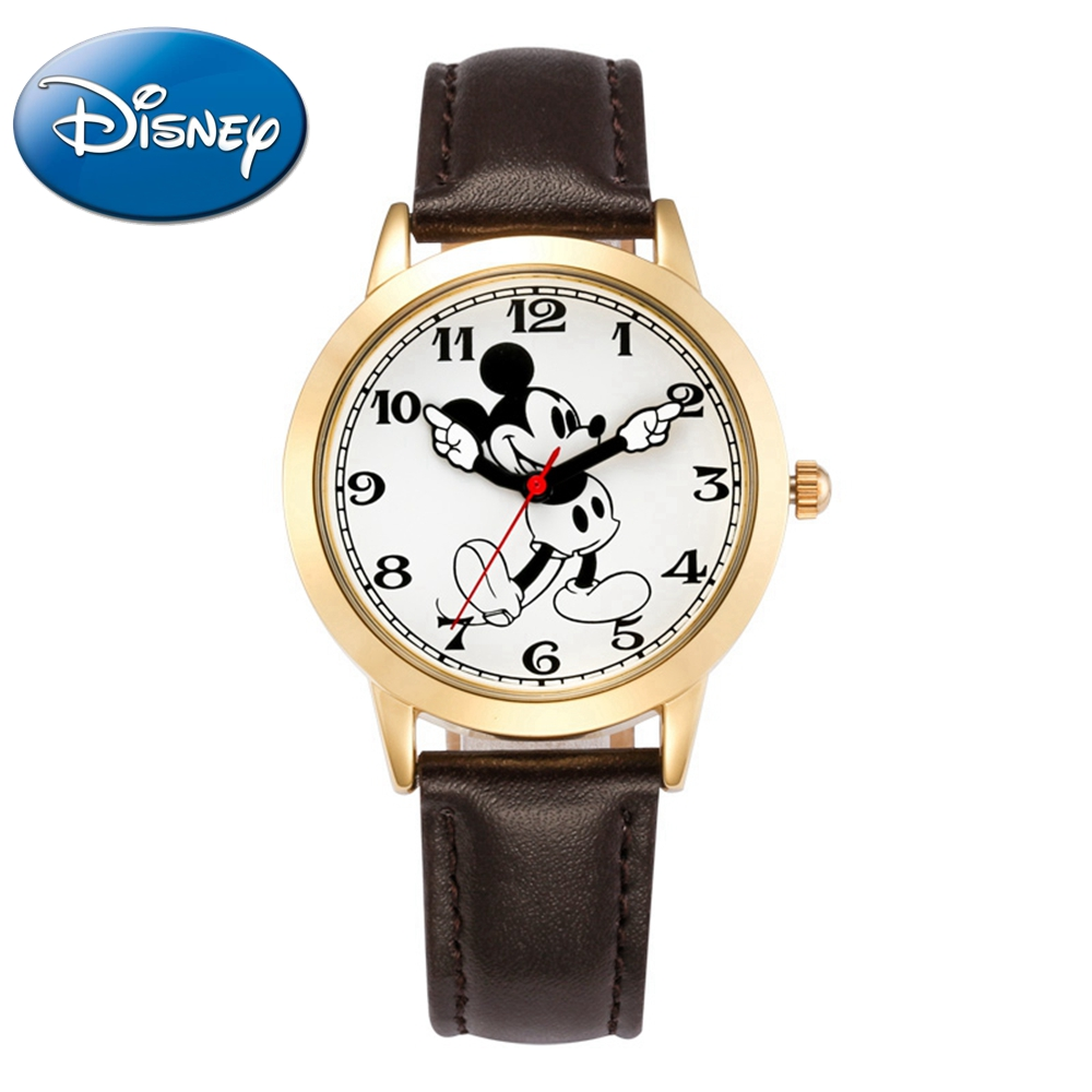 Mickey mouse leather quartz wrist watch Mens sports analog simple watches Student Fashion classic DISNEY brand 11027 Good gift<br>