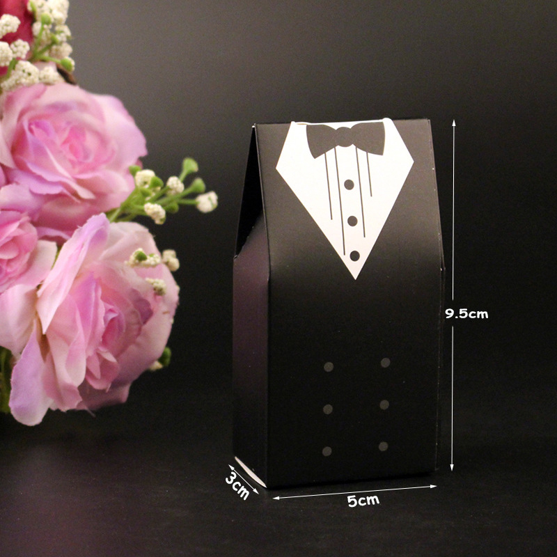 10Pcs Candy Box Bridal Gift Cases Groom Tuxedo Dress Gown Ribbon Wedding Favors Sugar Case Wedding Decoration mariage casamento (8)