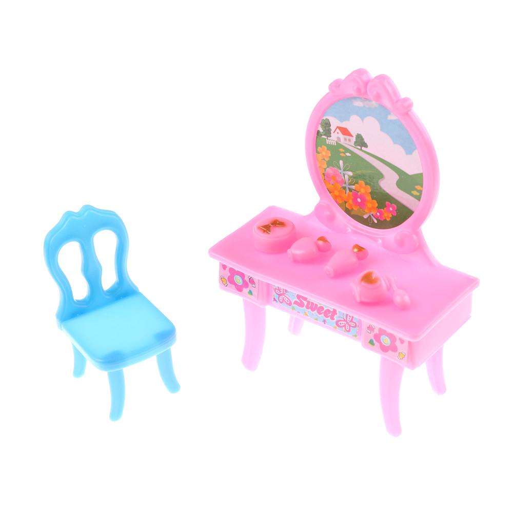 New Dressing Dresser Makeup Table Chair Bedroom Furniture For  Dolls Dollhouse Best Gift For Girl