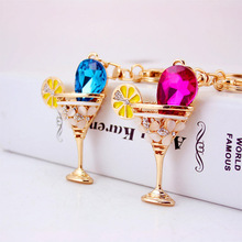 Purse Charms Rhinestone Wine Glass Cup Lemon Goblet Keychain Keyring for Car Chram Key Holder  Crystal Bag Buckle Pendant Gift