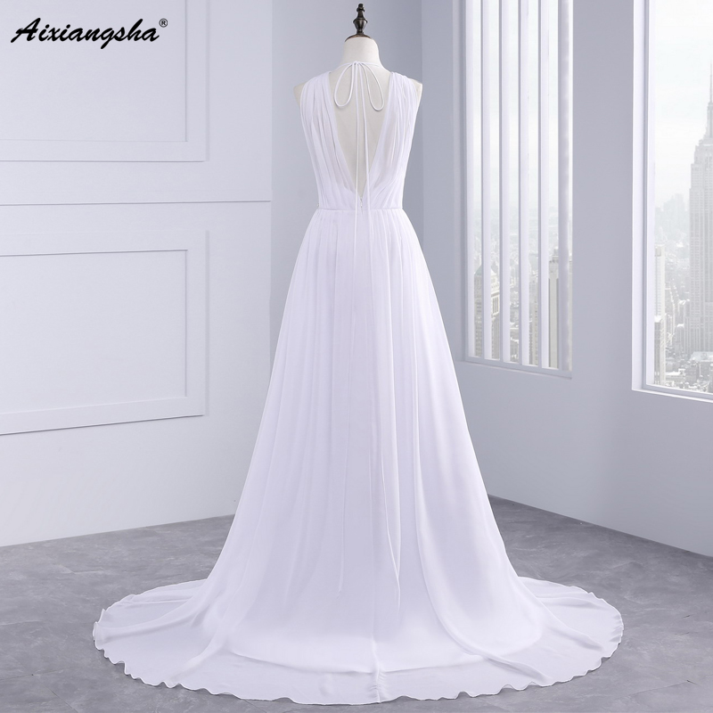 Dress Bride Ivory Chiffon Open Back 2017 Greek Style Vestidos Wedding Dress Sleeveless Floor Length Sexy Wedding Dress 6