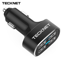 TeckNet USB Car Charger 9.6A/48W 4 Port USB Car Charger with Smart Charge Technology Mobile Phone Charger for iPhone Samsung LG(China)