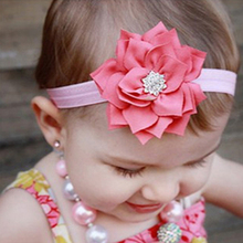 1PC  2017 Lotus Flower Headband With Sparkling Pear Button Chiffon Headband Hair Band Hair Accessories W023