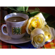 New Generation DIY 5D Diamond Embroidery Coffee and yellow rose Flowers Pattern Paintings Rhinestones Mosaic Home Decor H1589