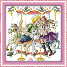 Joy sunday cartoon style The love with the carousel counted cross stitch stores for christmas gifts(China)
