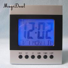 Digital Backlight Alarm Clock Acoustic Control Travel Clock With Time Date Month Week Temperature Display Voice Control Snooze(China)