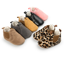 ROMIRUS Winter 2017 Small PU Leather Baby Ankle Boots with Plush Fashon Leopard Infant Toddler Shoes Baby Moccasins