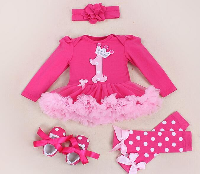 Baby Girl Clothing Sets baby Word crown Lace Tutu Romper Dress Jumpersuit+Headband+Shoes 4pcs Set Bebe First Birthday Costumes<br><br>Aliexpress