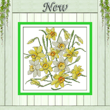 Daffodils flowers home decor painting counted printed on canvas DMC 14CT 11CT Chinese Cross Stitch Needlework Set Embroider kits