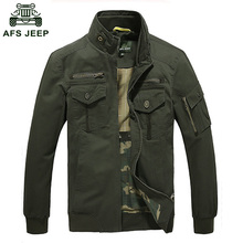 Men's Jacket Male Overcoat Casual Solid Jacket AFS JEEP Men's Jacket Cotton Plus Size Middle-aged Men's Coat 130D