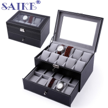 Pu Leather Watch Box SAIKE 20 Slots Double-deck Wristwatch Display Box Storage Holder Organizer Case for Jewelry Watch Sellers
