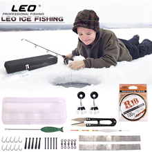 LEO 37pcs Complete Set 80cm Super Hard Fiberglass Ice Fishing Rod Combo Fly Fishing Tackle Kit in Exclusive Fishing Case Bag(China)