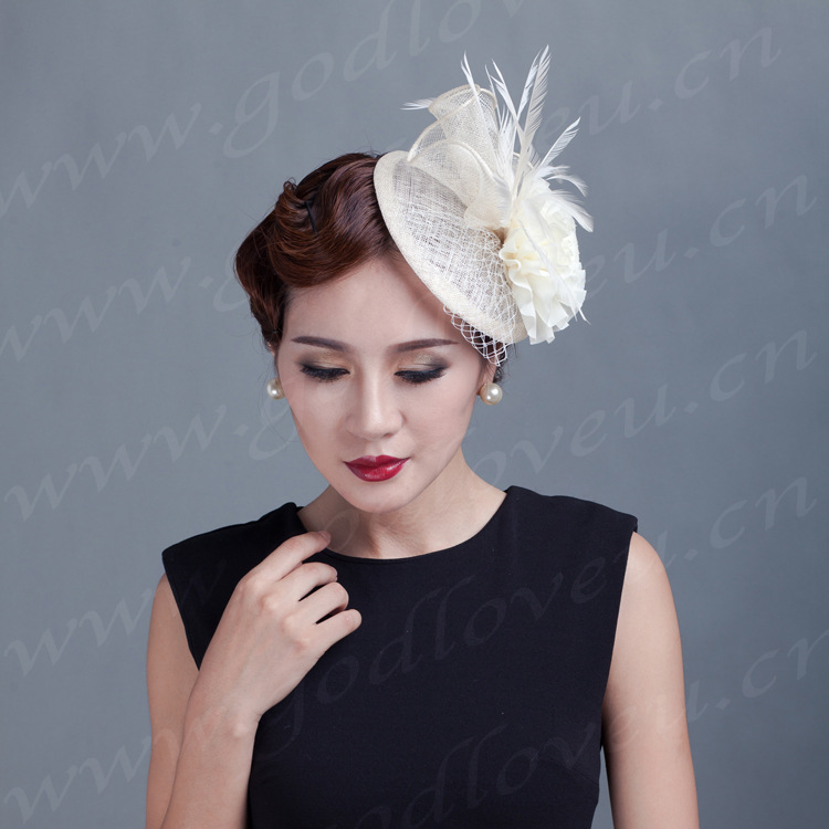 women Ladies handmade floral headdresses wedding ivory flowers Fascinator feather sinamay hat hair wedding party fascinators(China)