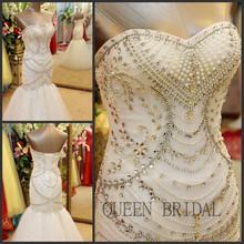 Buy Custom made crystle crystal beaded mermaid wedding dress wedding bouquets 2017 bridal dresses QUEEN BRIDAL BC10 for $552.50 in AliExpress store