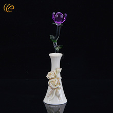 Pruple Crystal Rose Valentine Lovered Rose Glass Bud New Year Holidays Pink Wedding Present Christmas Decor for Tables Rose(China)