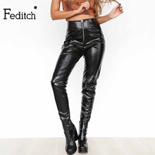Feditch New Style Women Clothes Skinny PU Leather Pencil Leggings Sexy Thin Fleece Trousers Ladies Slim Faux Leather Pants(China)