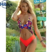 Sexy Skull Print one piece swimsuit Open Waist swimwear Backless Monokini high cut Skull swimwear women high cut bodysuit(China)