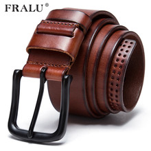 Buy FRALU 2017 newest men belt 100% genuine leather belt men full grain leather belt black brown pin buckle belts jeans coW for $21.33 in AliExpress store