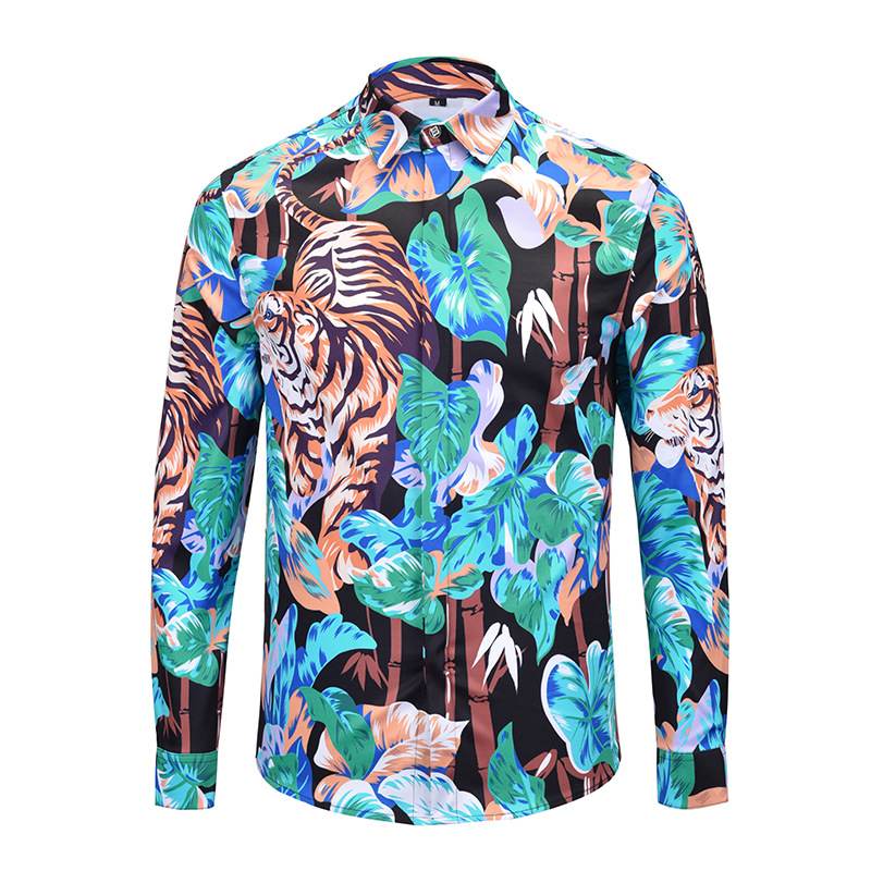 Newest Style Men Shirts 3d Print Tiger And Green Leaves Long Sleeve Casual Slim Fit Hawaiian Shirts High Quality Chemise Homme