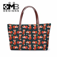 Cute Fox Printed Shouder Handbags for Women Large summer Tote Bags for Girls School,animal pattern over shoulder bags for travel(China)
