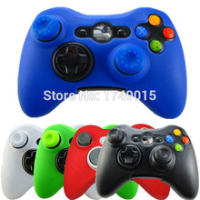 IVY QUEEN 2 in 1 Soft Silicone Protective Skin Case Cover for Microsoft Xbox 360 Game Controller + 2 PCS Thumbsticks Caps Grips