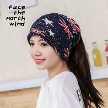 flag Hooded hat men women Autumn winter knitting Confinement cap Pile cap thin(China)