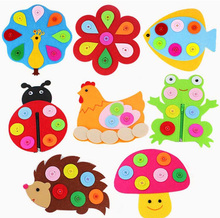 ZY DIY So Cute 10 Brand Designs Happy Animals With Removeable Button Printed Felt Children handmade Nonwoven Decoration DIY Fel
