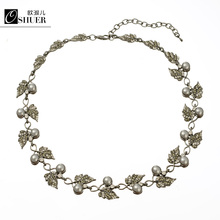 OSHUER New Brand Fashion leaf Charms grey pearl color choker Necklace Gun Chain Necklaces & Pendants Women Jewelry