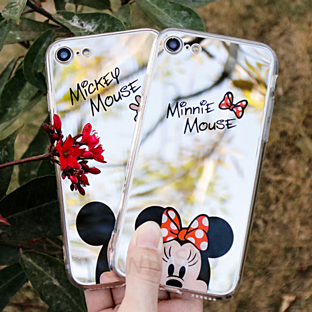 Mirror Cartoon Mickey Minnie Cases iPhone 7 6S 5S Case Plating Soft Gel Phone Cases iPhone 5 6 7 8 X Coque Capa Fundas