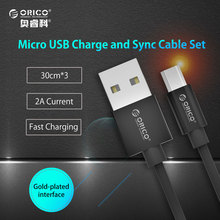 ORICO Micro USB 2.0 5V2A Charging Data Cable Length 30cm 3 pcs for Xiaomi Huawei Samsung Smartphones 3PCS/LOT - (ADC-S1)