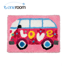 Oneroom ZD209 Lovely Bus Hook Rug Kit DIY Unfinished Crocheting Yarn Mat Latch Hook Rug Kit Floor