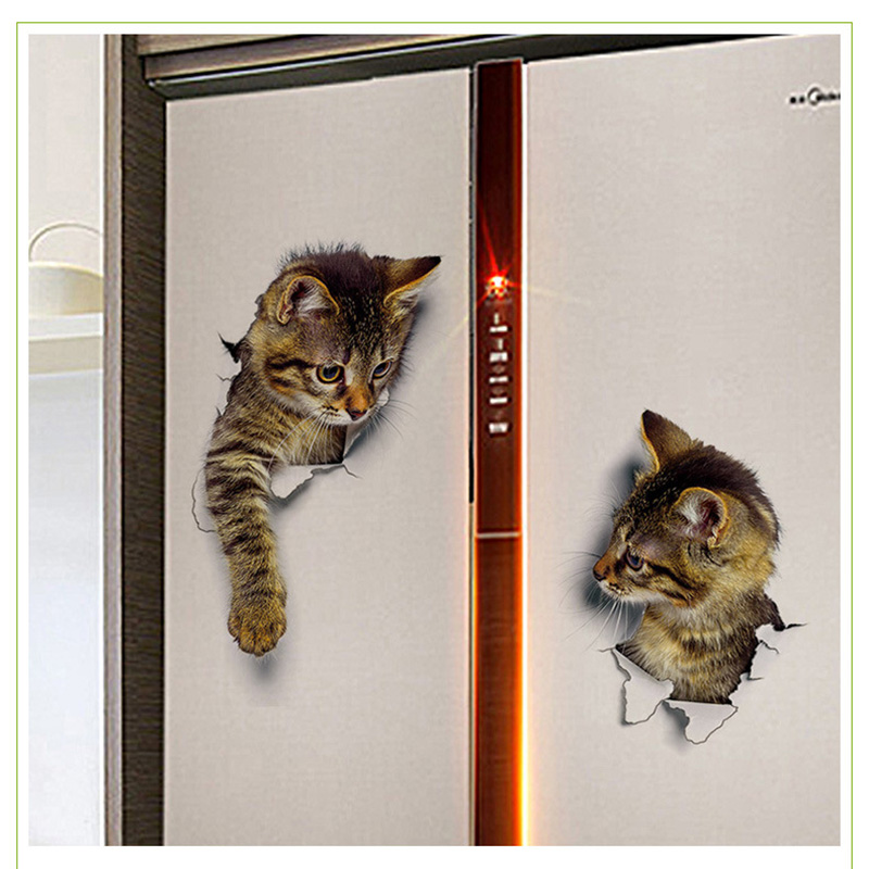 Cartoon animal 3d toilet stickers on the toilet seat cute cats PVC wall sticker bathroom refrigerator door decor stickers decals (46)