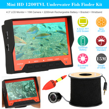 "Mini HD Underwater Fish Finder Kit With 4.3"" LCD Monitor 15M 1200TVL Waterproof Infrared Night View Plug and Play Camera RJ45"