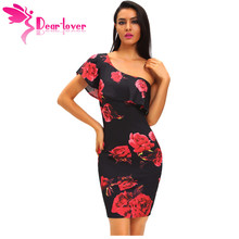 Dear Lover One Shoulder Dresses Print Summer Sexy Vintage Women Party clothes Blue Rose Frill Midi Dress Vestido Curto LC61155(China)
